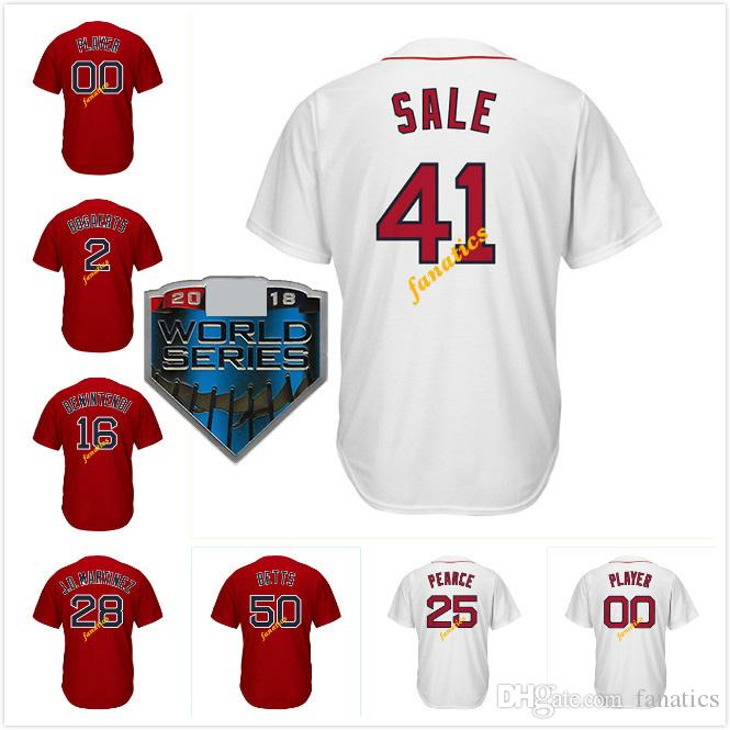 detailed look 5758b 78809 2018 WS Boston Baseball Jersey 41 Chris Sale 50 Mookie Betts 28 J.D.  Martinez 46 Craig Kimbrel Andrew Benintendi David Price Xander Bogaerts