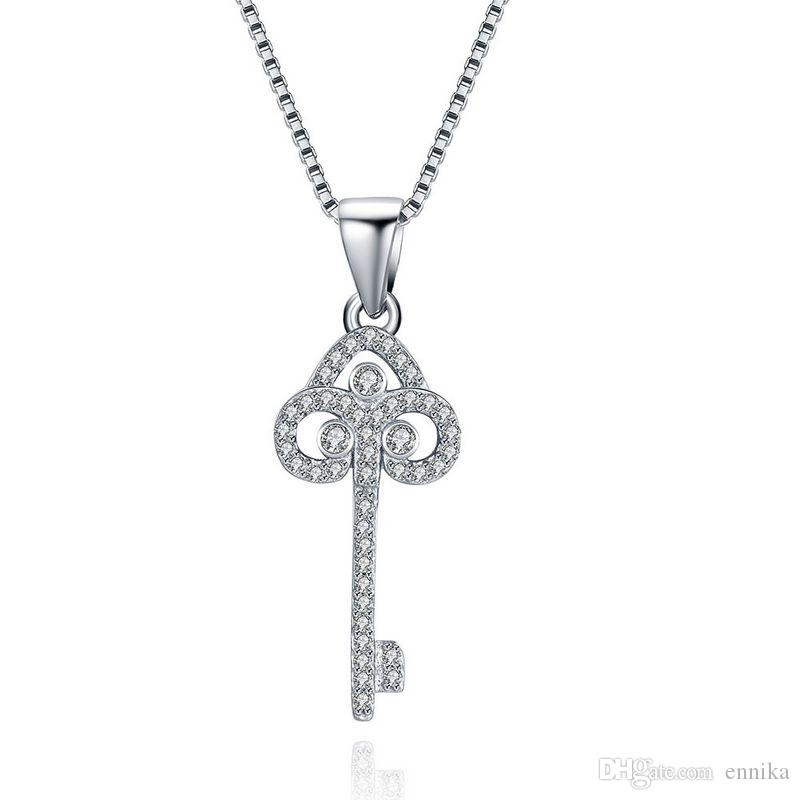 Sterling Silver 925 Necklace Lady Party Jewelry Pure Silver Key Pendant Necklace With Zircon n078