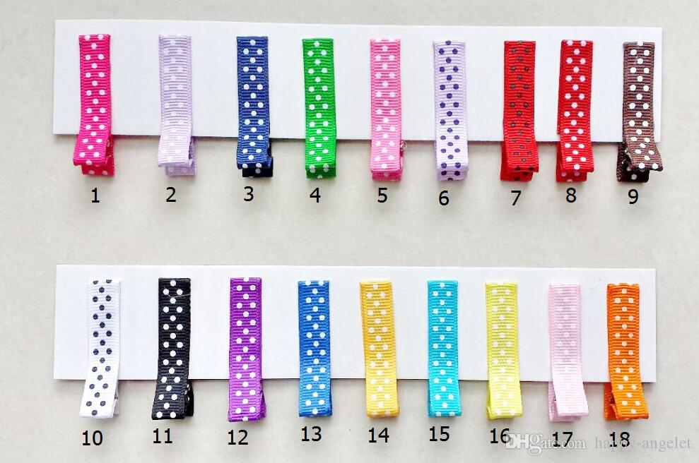 Hair Accessories polka dot hair clip Ribbon Covered Duckbill Single Prong Alligator Hairpin for Baby Girl bows flower headwear FJ3225