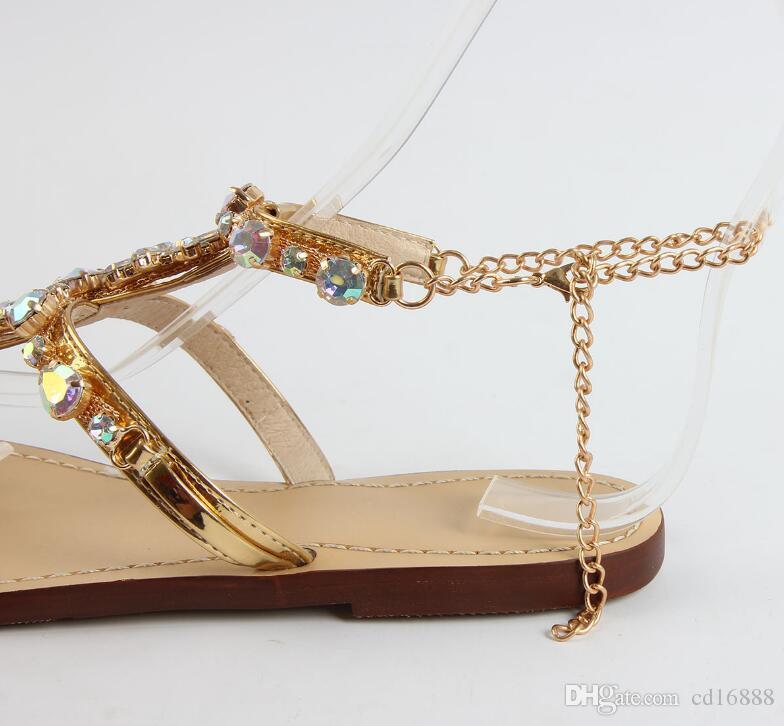 zapatos al por mayor y al por menor de verano las mujeres de las sandalias 2020 nueva cadena del Rhinestone de la mujer zapatos de las sandalias de tirón planos de la manera más tamaño Roma