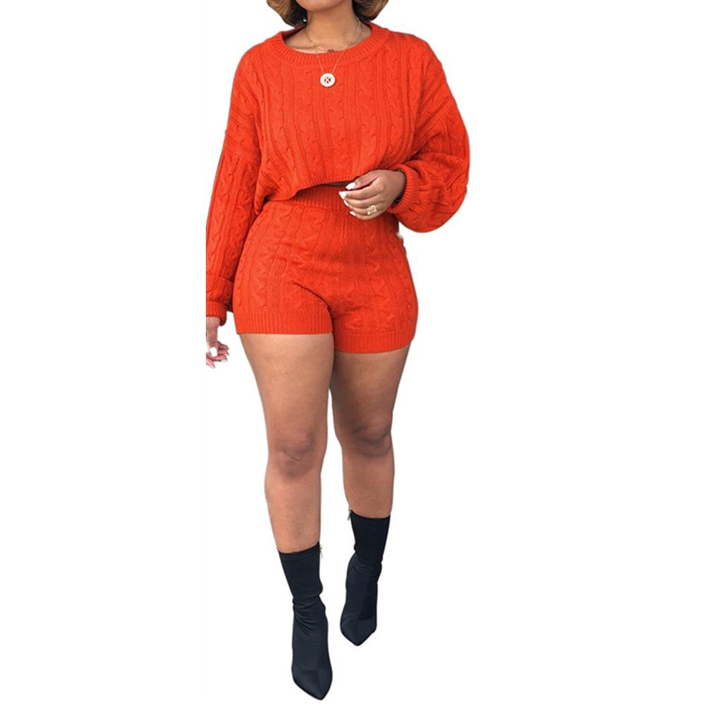 2683daf5518 Autumn Winter Knitted Sweater Two Piece Set Women O Neck Long Sleeve ...