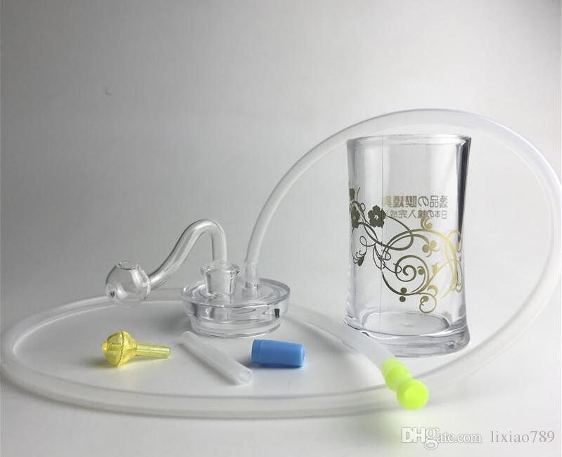 New 4.5 Inch Plastic Oil Burner Bong Water Pipes with 10mm Male Thick Pyrex Glass Oil Burner Pipe Silicone Tube for Smoking GFHHHF