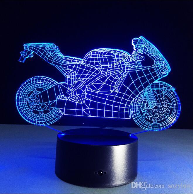 Luminaria 3D LED 오토바이 모델 색상 디밍 스위치 또는 터치 또는 원격 환상 그라디언트 침실 침대 옆 책상 램프 장식 어린이 장난감