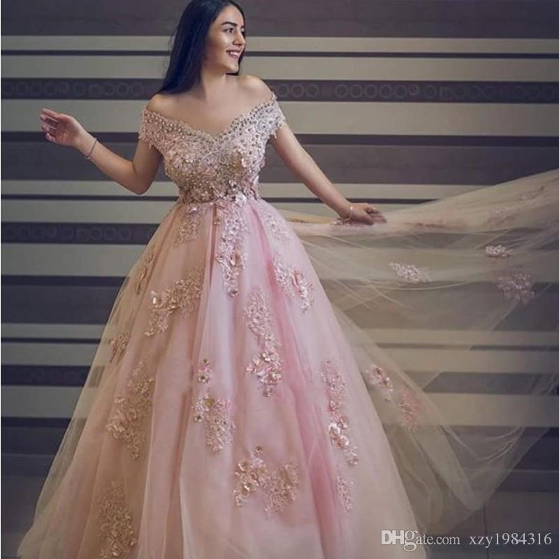 Crystals Off Shoulder Prom Dresses Beads Lace Petals Applique Sleeveless Party Prom Gown Charming Tulle A-Line Evening Dress Evening Wear