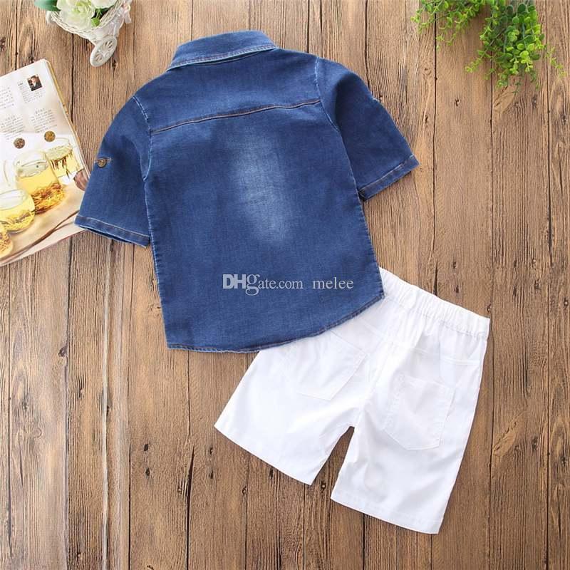ins Boys Childrens Clothing Sets Denim Shirts Top & White Shorts Set Fashion Boy Kids Short Sleeve Tops Boutique Clothes Enfant Outfits