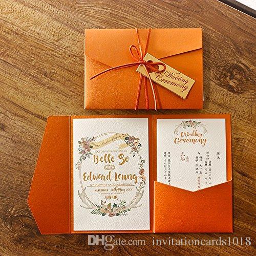 Do You Need An Inner Envelope For Wedding Invitations: New Arrival Elegant 3 Folds Orange Wedding Invitations