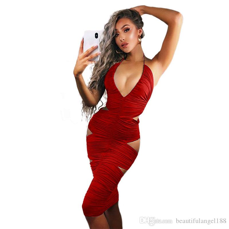 ae279af40c4 Waist Band Cut Out Sexy Bodycon Dress Women Halter V Neck Sleeveless Ruched  Dress Summer Backless Club Party Midi Dress
