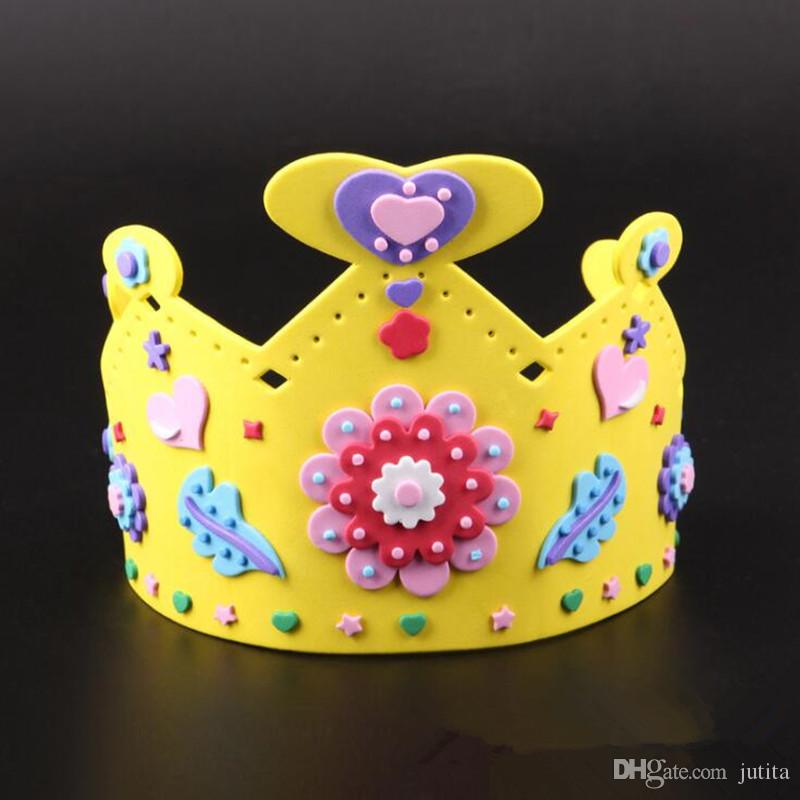 Kids Boy Girl DIY Handmade EVA Crown Children King Prince Birthday Hat Caps Party Favor Dress Decoration Baby First