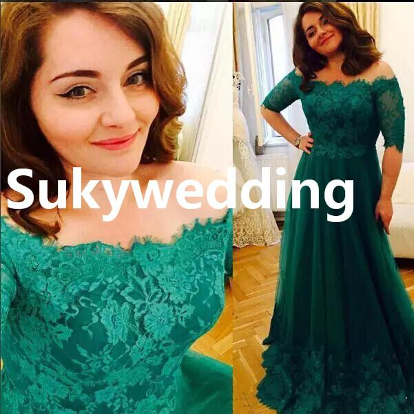 Emerald Green Lace Mother of Bride Dresses Off The Shoulder Plus Size A-line Tulle Appliques Lace Evening Party Gowns Floor Length