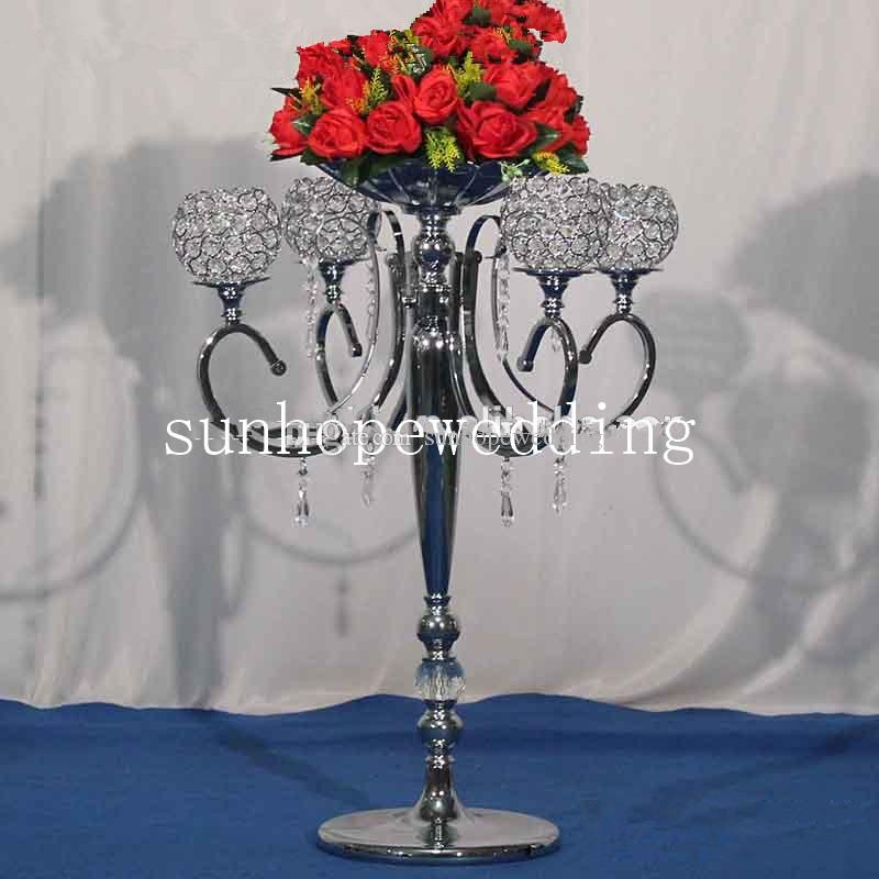 new style glass crystal flower stand flower vases for wedding candle holder