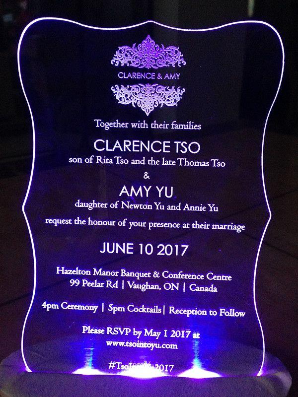 Acrylic custom clear WeddingBirthday Einladungen Karte mit kostenlosen Umschlägen LED und weiße Box nicht enthalten L165mmxW114mmxT2mm BL-181002