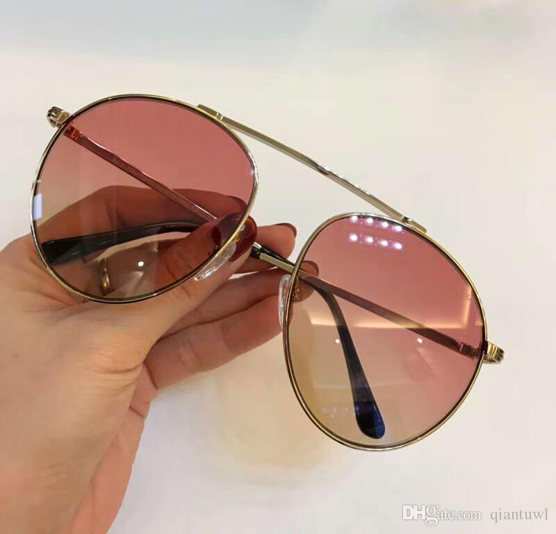57b43e563672d SIMONE 02 FT0571 Women Gold   Pink Metal Brow Bar Round Sunglasses Sun Glasses  Eyewear Driving Glasses Fashion New In Box Best Sunglasses For Men Vuarnet  ...