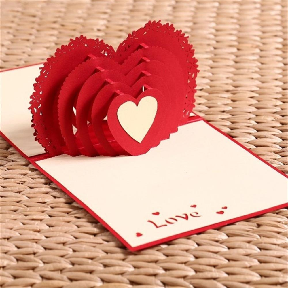 100*150mm Laser Cut Wedding Invitations Cupid\'s Heart 3d Pop Up Card ...