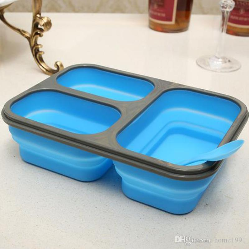 New Silicone Collapsible Portable Lunch Box Bowl Folding Food Storage Container Lunchbox Eco-Friendly 3 Grids Microwave Lunch Boxes