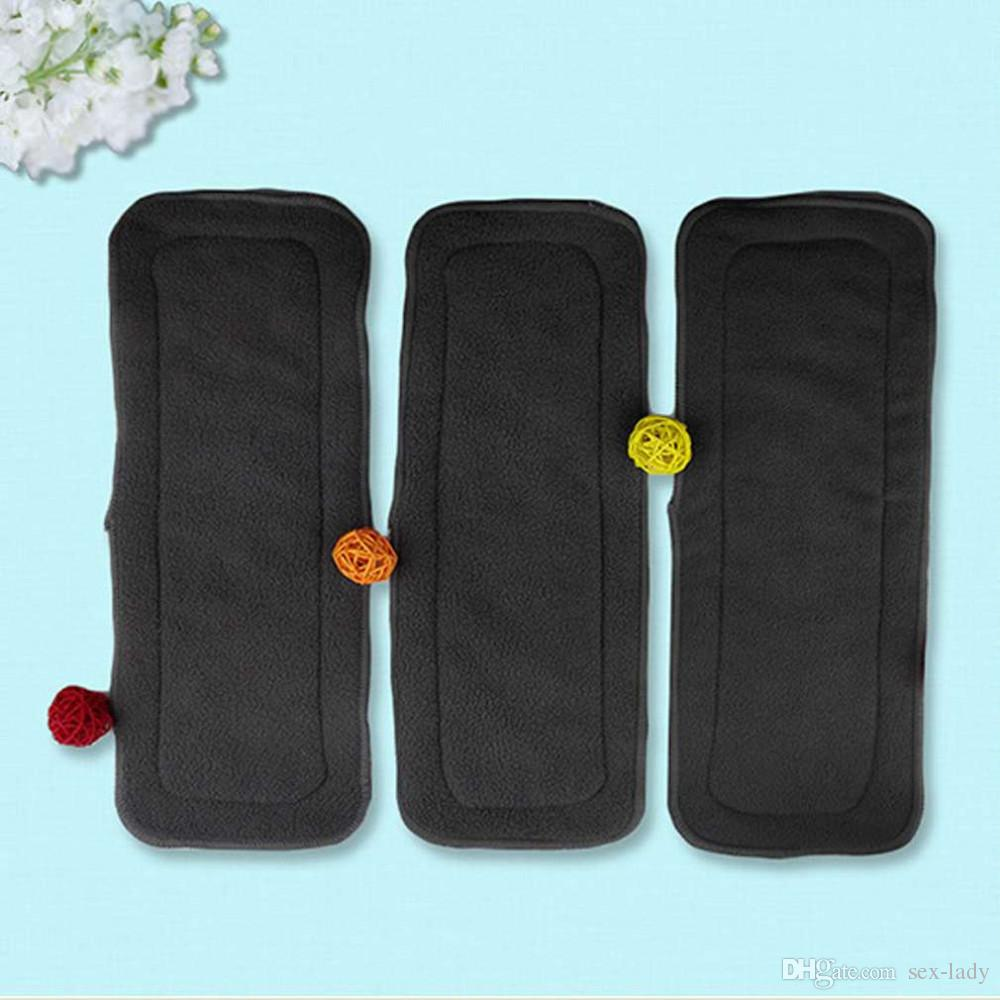 Reusable 4 Layers Of Bamboo Charcoal Insert Soft Baby Cloth Nappy Diaper Use Water Absorbent Breathable Diaper