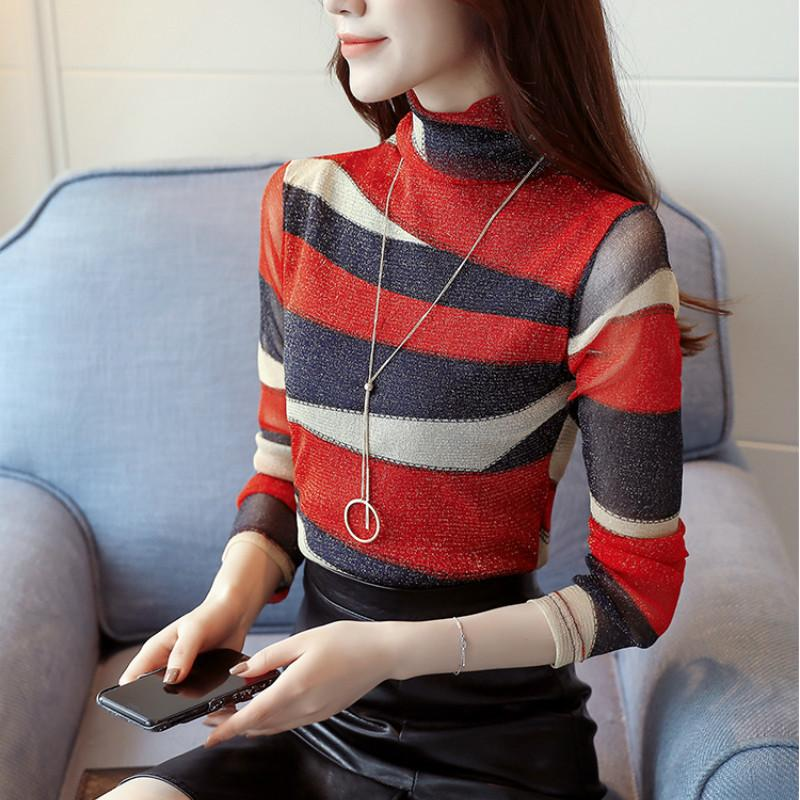b8b56dc3f7d 2019 2018 New Colored Stripe Women Fashion Turtleneck Girls Lace Shirt Slim  Blouses Long Sleeved Shirt Tops From Qinfeng02