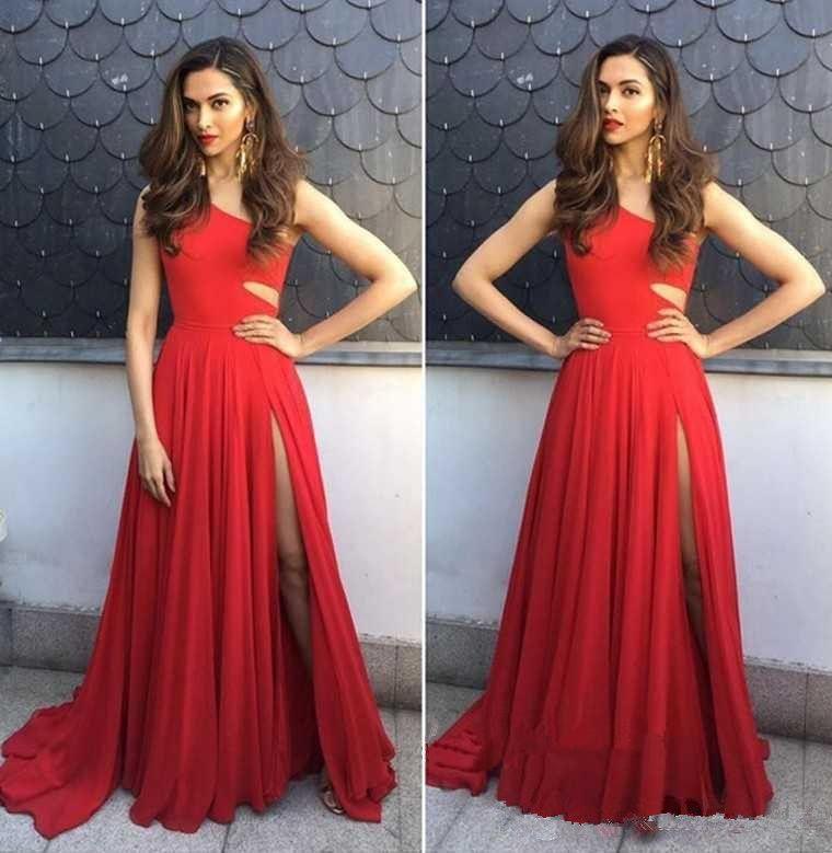 2018 Red Chiffon A Line Prom Dresses Long One Shoulder Side Split ... 104cb647b3d6