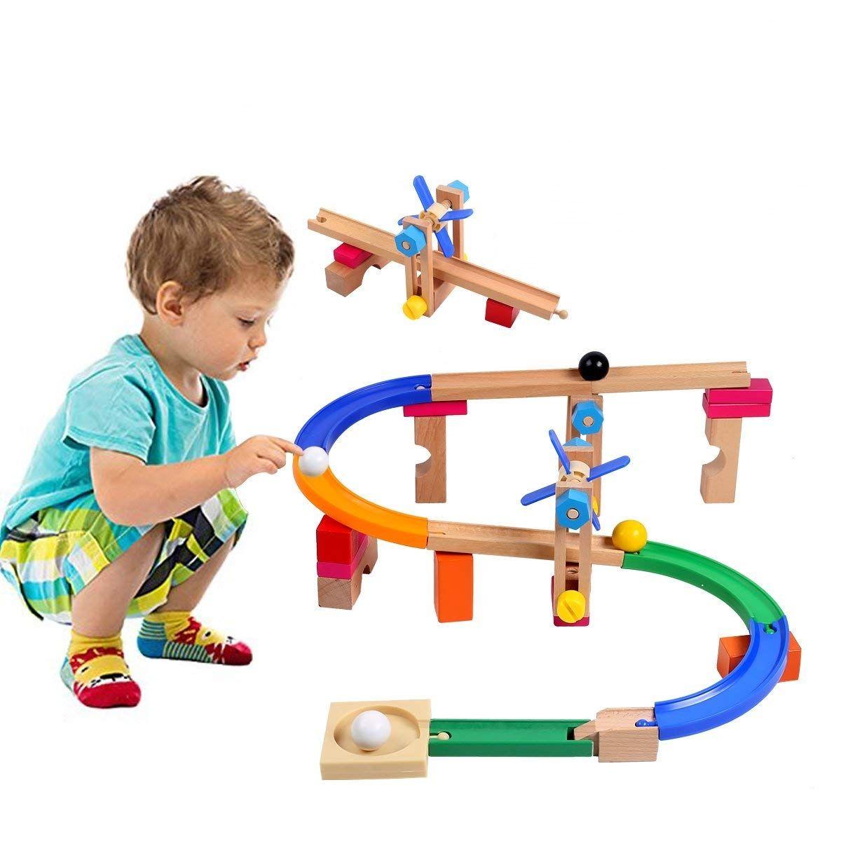 Marble Run Roller Coaster Track Blocks Kids Children Educational Construction Building Wooden Toys