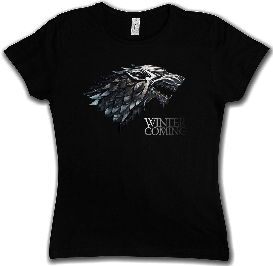 b6353eb4db Compre O INVERNO ESTÁ VINDO GIRLIE CAMISA House Stark Targaryen Jogo Dos  Tronos Lannister De Lanshiren2