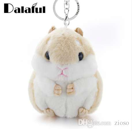 Dalaful Mini Hamster Keyrings Keychains Faux Rabbit Fur Pompom Fluffy Trinkets Car Handbag Pendant Key Chains Ring Holder K356
