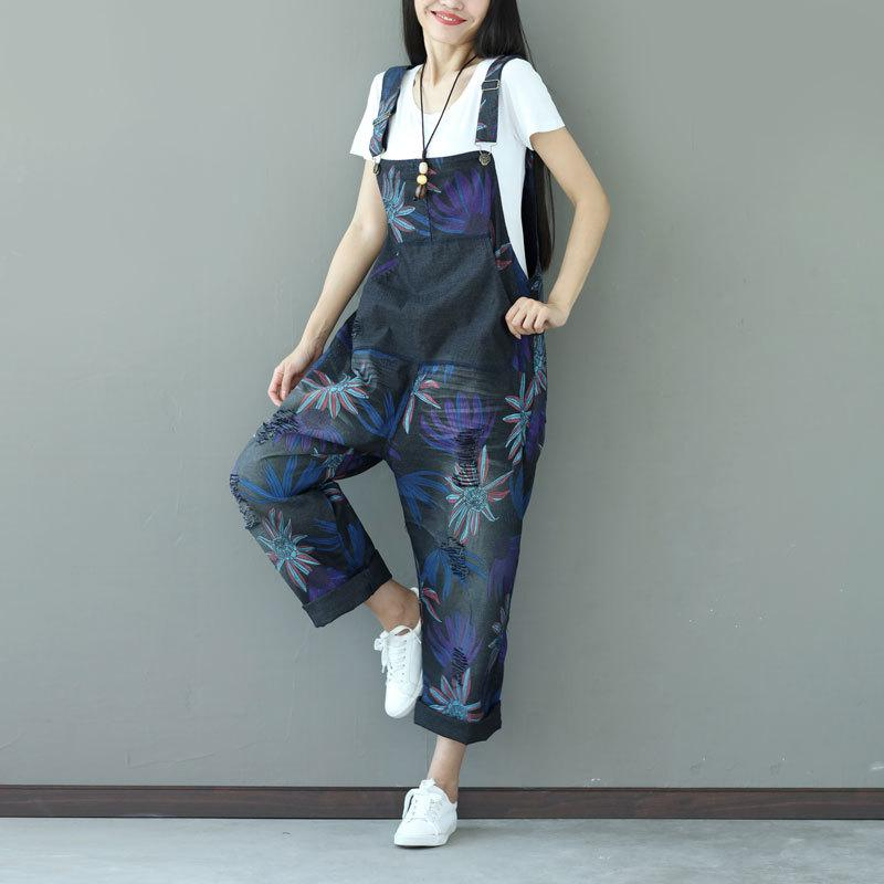 2019 Plus Size Bib Overalls 2018 Women Wide Leg Jean Jumpsuit