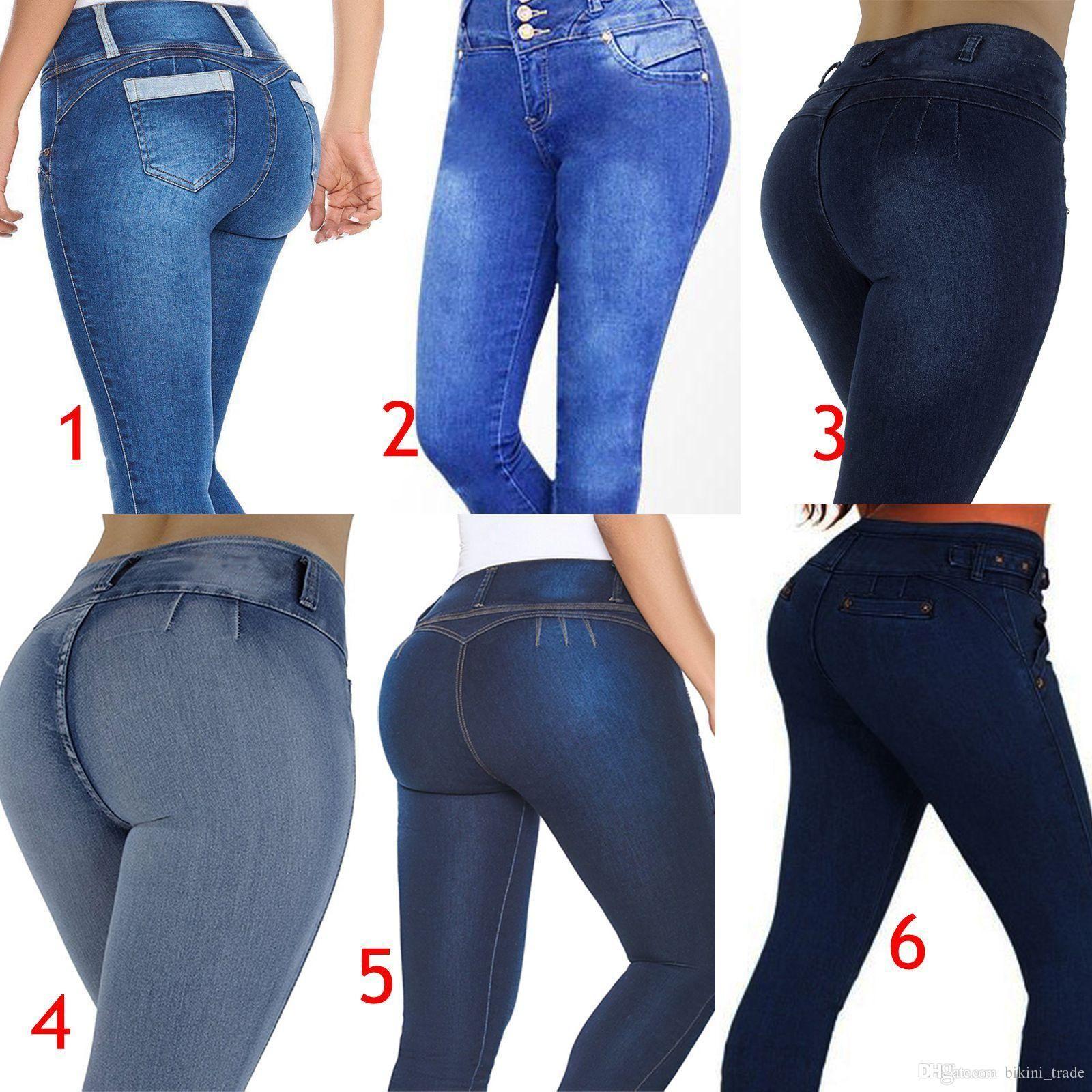 2ebc3851c44 2018 Women s Stretch Denim Pants Skinny Slim Jeans Butt Lifting Pencil Pants  High Waist Jeans Trousers Plus size 2XL