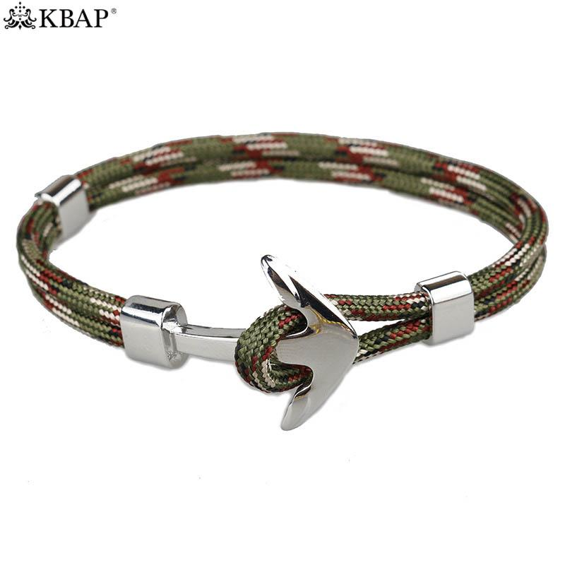 KBAP Women Men's Silver Anchor Rope Wrap Bracelet Cuff Bangles Military Camouflage Nautical Charm Bracelets Gift for Friends