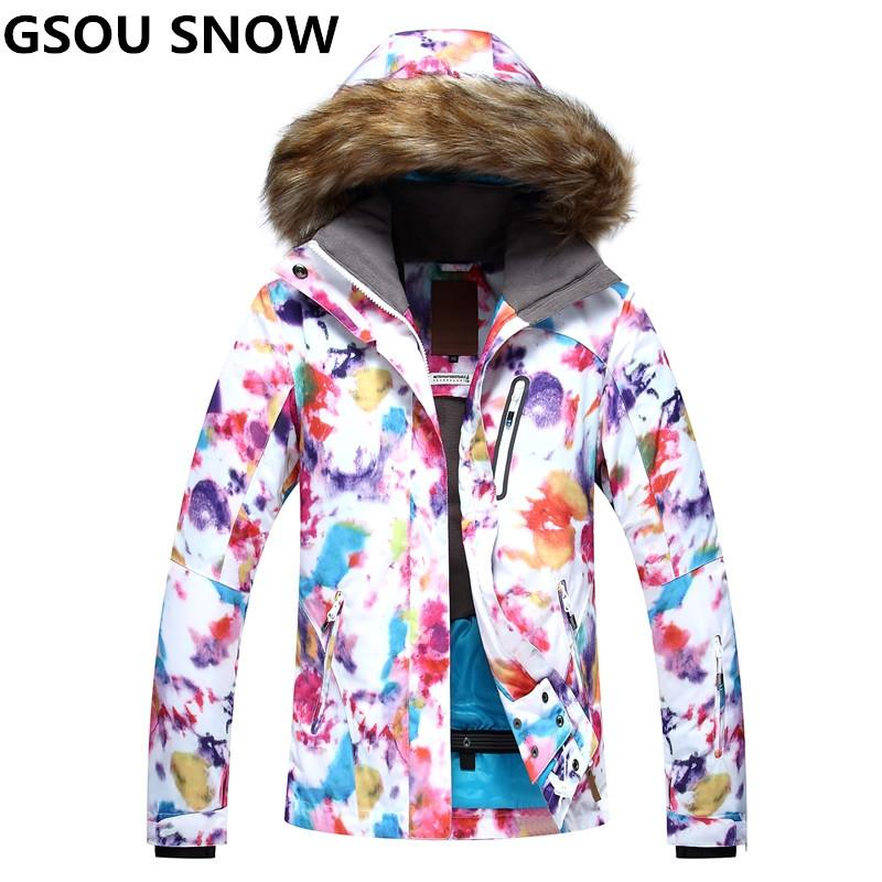 9b2dfd40f7 2019 GSOU SNOW Brand Professional Women Ski Jacket Winter Ski Clothing  Waterproof 10000 Breathable Snowboard Jacket Female Sportswear From  Lianqiao