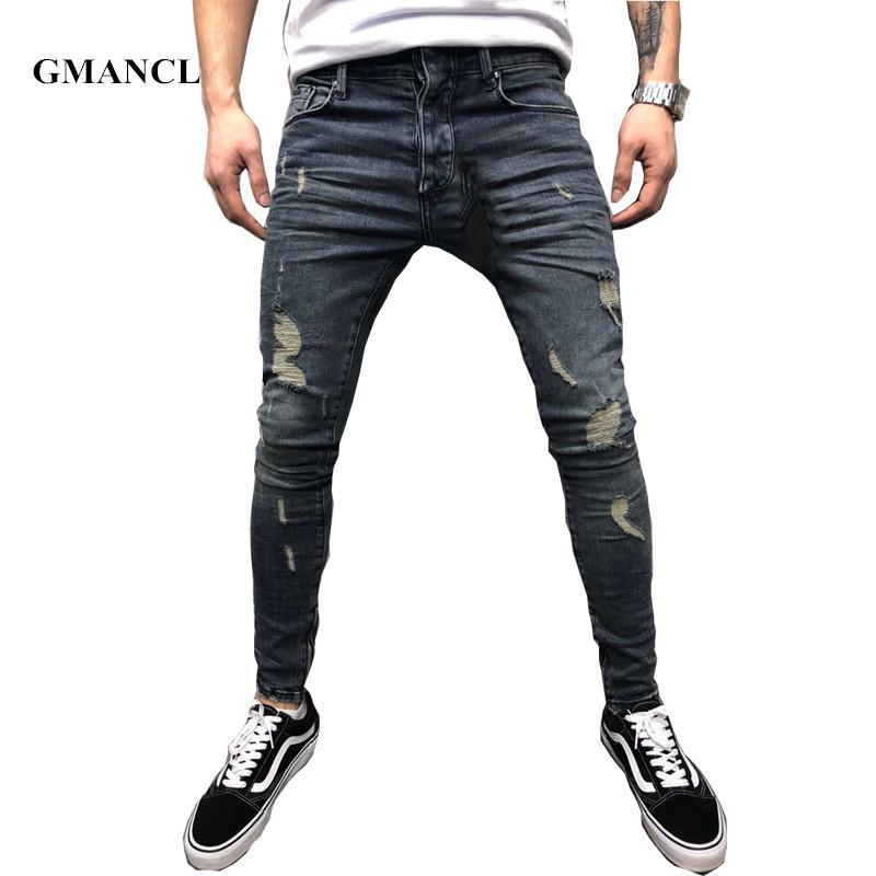 3a2897b53f Compre GMANCL Moda Vintage Gris Oscuro Hombres Agujeros Delgados Biker Jeans  Hip Hop Swag Ripped Streetwear Motocicleta Hombres Destruidos Pantalones De  ...