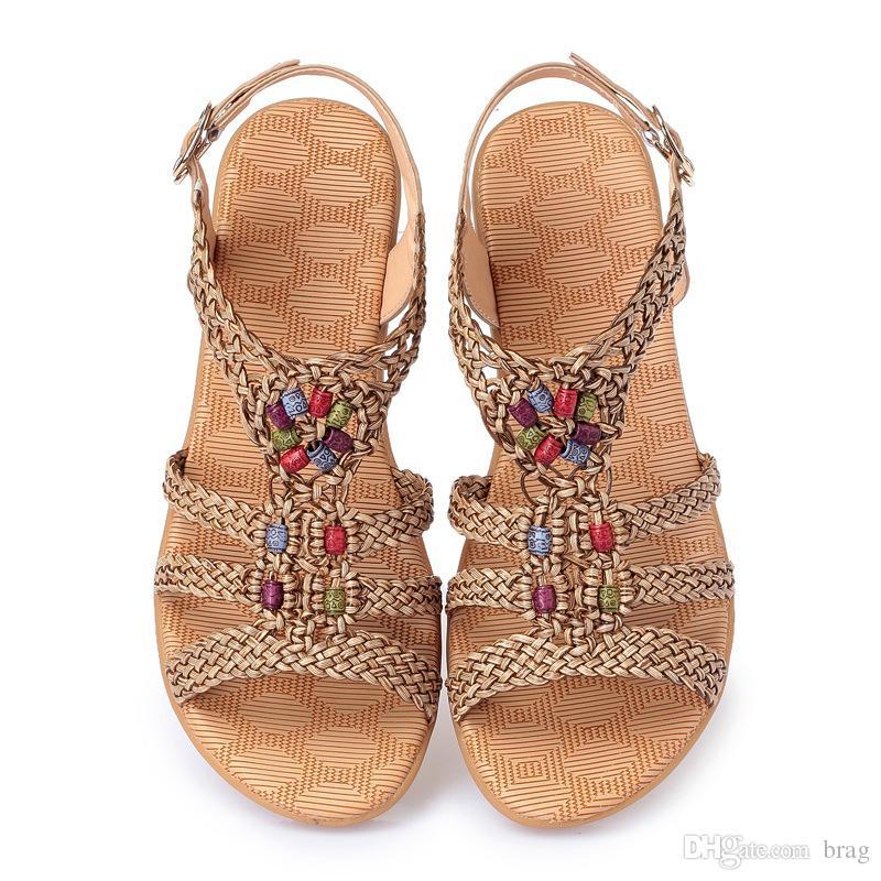 2a9100cae Sandálias das mulheres Sapatos de Verão de Couro Real Mulher Flip Flops  Moda Praia Senhoras Sapatos Trançado Mulheres Não Slip Sandálias Sapatos  Plus Size ...