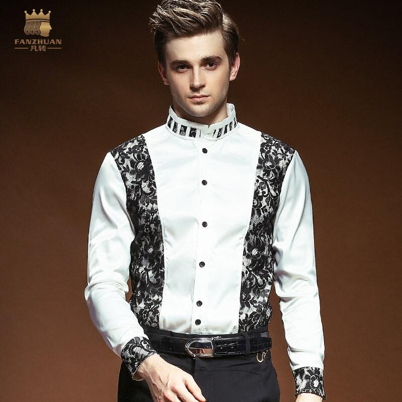 2019 FANZHUAN New Casual Male Men S Designer Man Unique White Groom Wedding  Lace Dress Shirt Long Sleeved Shirt 14279 From Cyril03 24c9f04033e1