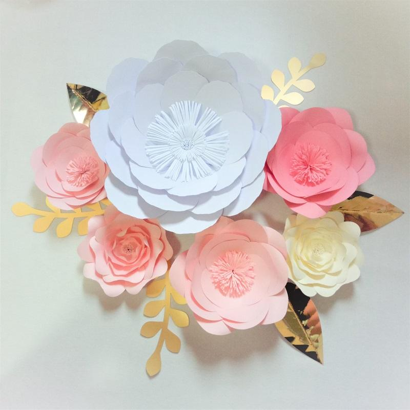 2019 Giant Paper Flowers Backdrop Leaves Wedding Baby Nursery Bridal