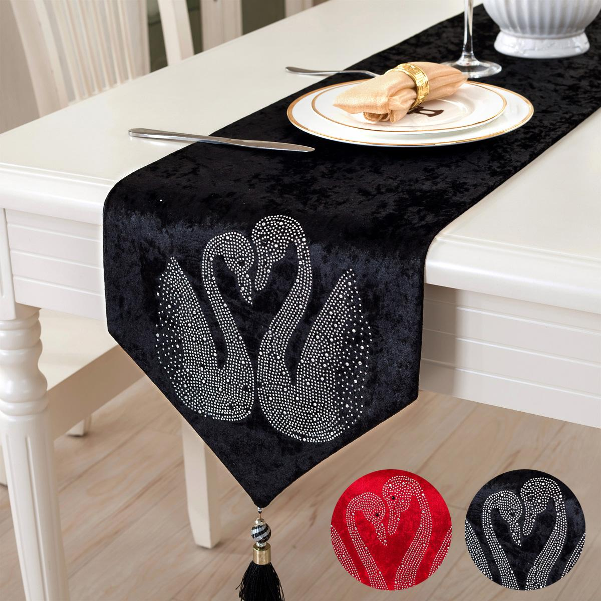 7c3b9e7c61 European Style Dining Table Cloth Luxury Black Swan Table Runner Red  Wedding Decorative Cloth Linen Table Cloths Linen Table Runner From Aurorl