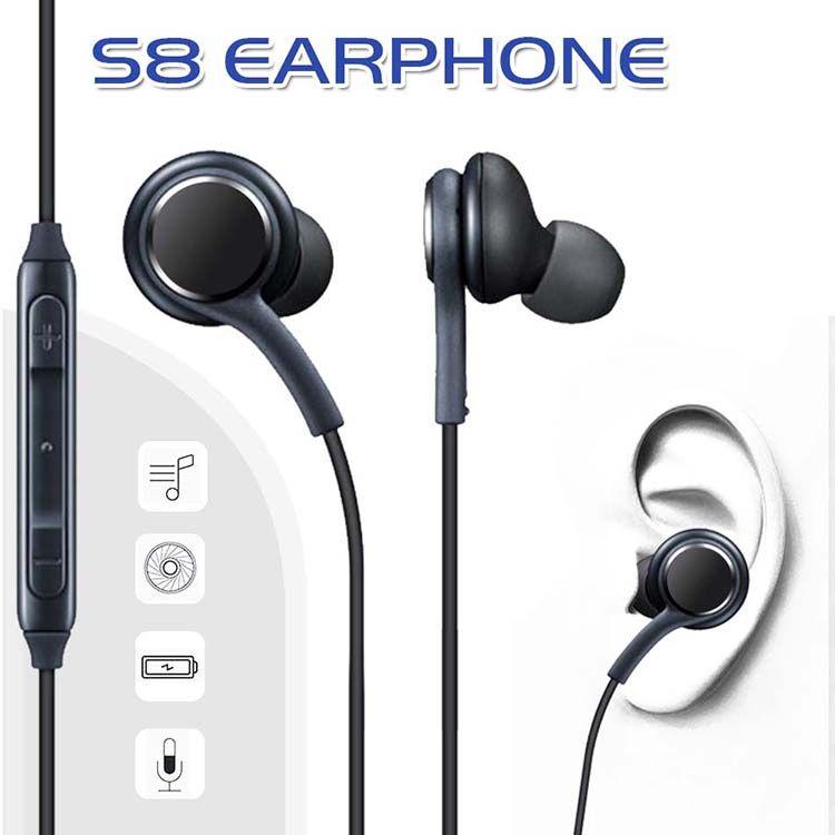 In-Ear S8 Fones De Ouvido Fones de Ouvido Estéreo Baixo Fones De Ouvido Com Fio de Som OEM Com Controle de Volume Para Samsung Galaxy S8 S7 S6 S5 Borda Sem Pacote