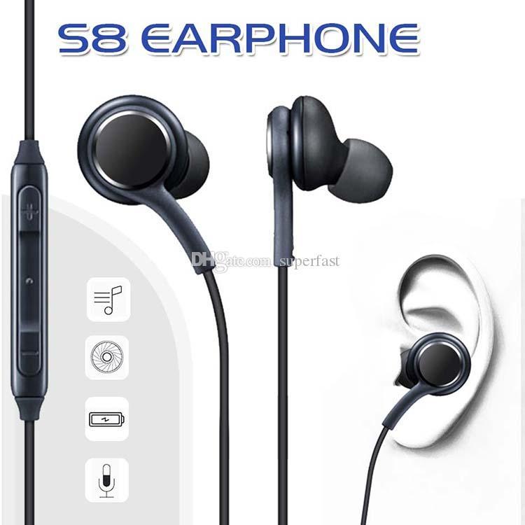 Kulak S8 Kulaklık Bas Kulaklık Stereo Ses Kulaklık OEM Kulaklık Için Ses Kontrolü Ile Samsung Galaxy S8 Artı S7 S6 Kenar Yok Paket