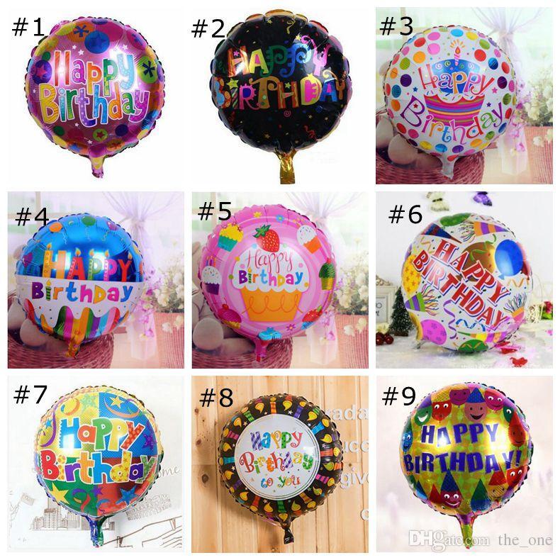 / 18 pulgadas feliz cumpleaños globos de revestimiento de aluminio globos para niños decoración del partido regalos juguetes