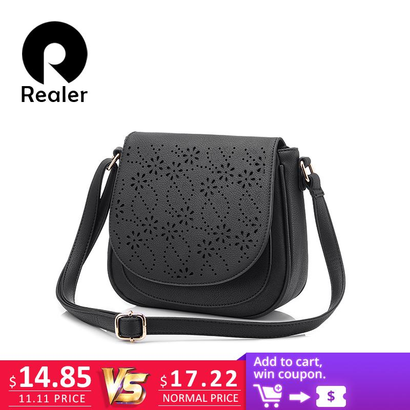 d4443e62992a6 2019 Fashion REALER Brand Designer Shoulder Bag Female Vintage Floral  Hollow Out Handbag Solid Messenger Bags Women Saddle Bag Purses For Women  Bags For ...