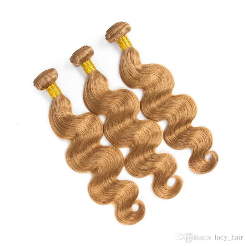 # 27 Honig Blonde Jungfrau-indische Menschenhaar-Bündel-Angebote mit Verschluss-Körper-Welle Erdbeere-blonde 4x4 Spitze-Schließung mit Webart-Bündeln