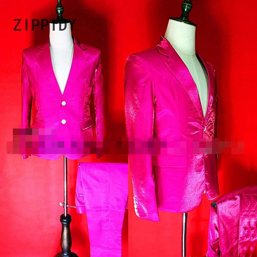 New High-end Reflective pink or blue Satin Men s Suit Jacket And Pant  Nightclub Bar Dj Male Singer Stage show outfit Costume Set