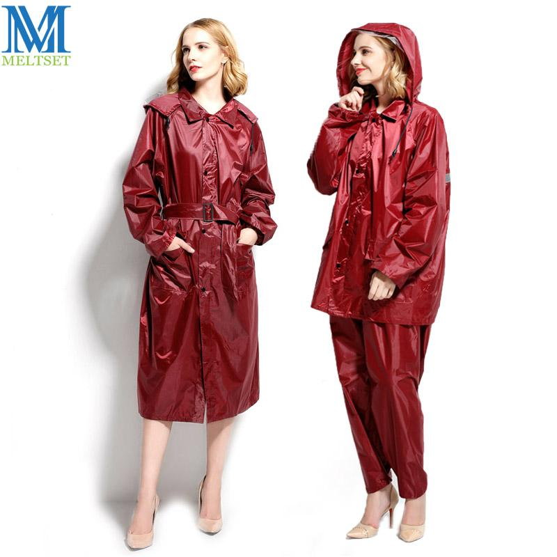73a511361 1pc Long Woman's Raincoat Waterproof Motorcycle Rainsuit For Ladies Hooded  Trench Raincoat With Reflective Strip