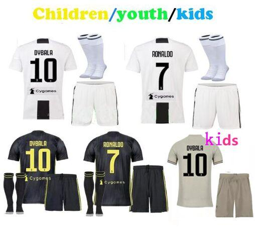 new styles 9e8ce 27183 Free patches! Cristiano Ronaldo kids soccer jerseys 2019 black Maglie  children juventus voetbal cr7 juventos shorts socks football kits