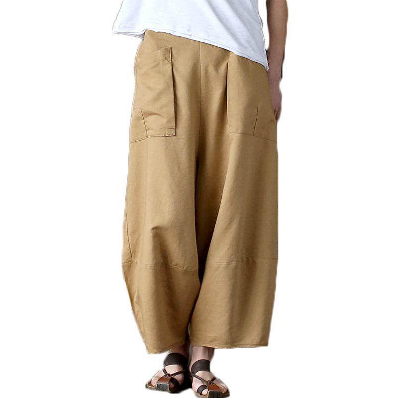 2b90737e26624 2019 2018 Casual Cotton Linen Wide Leg Pants Women Plus Size Vintage  Elastic High Waist Autumn Summer Harem Pants Trousers Pantalones From  Beltloop