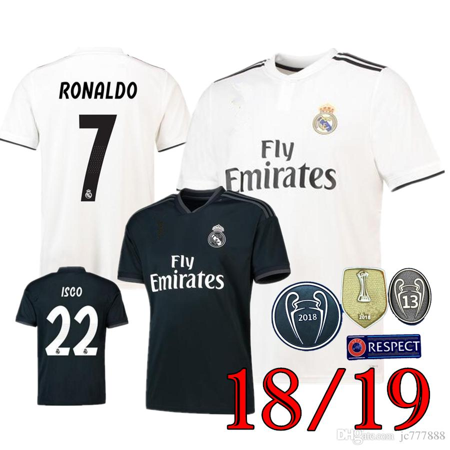 2019 Hot 2018 2019 Real Madrid Soccer Jersey 2018 19 New RONALDO Home White  Away Black BALE RAMOS ISCO KROOS 18 19 Football Shirts From Jc777888 0c6f6f91a