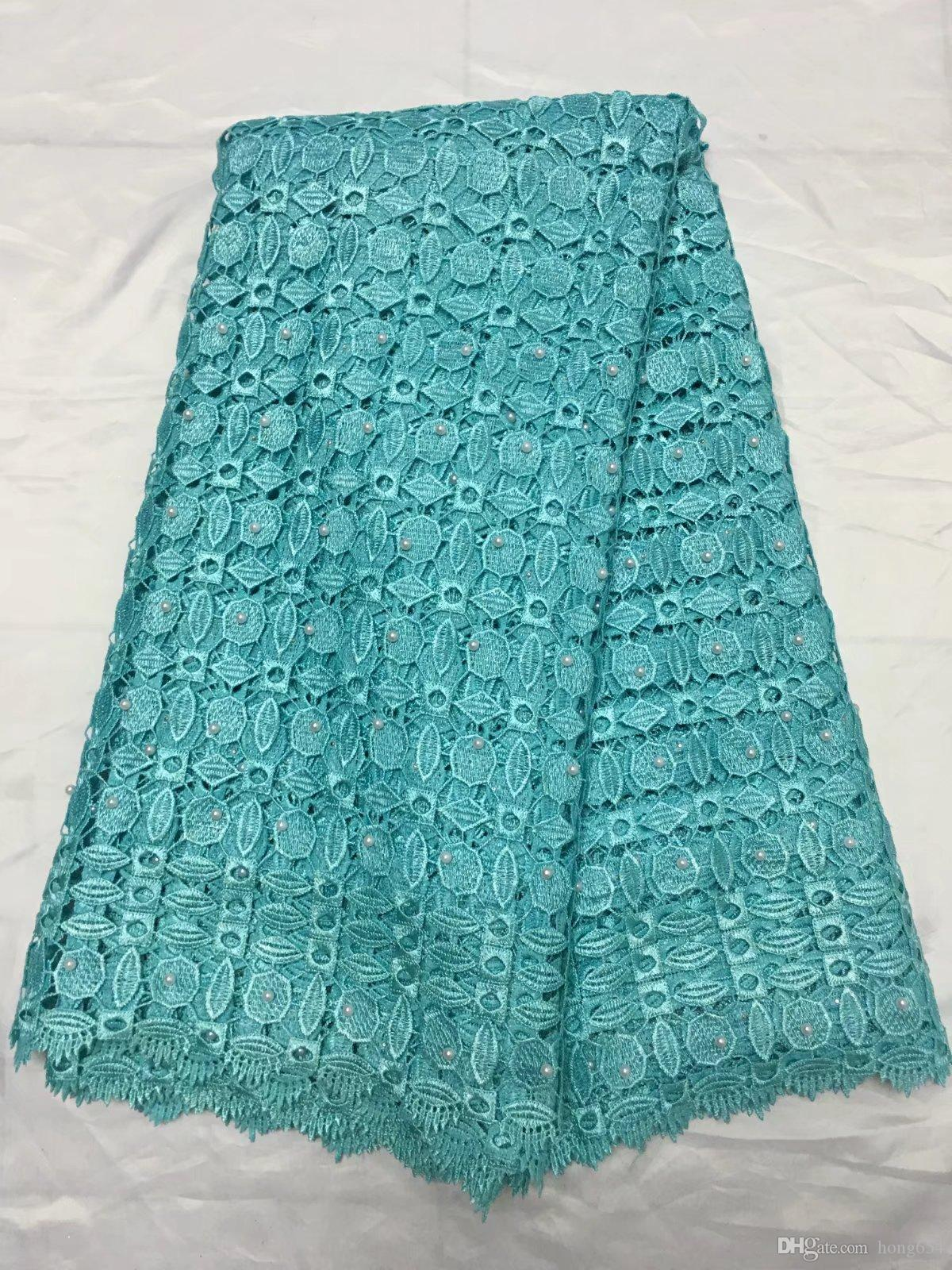 The latest red embroidery 3D dress, water-soluble bead lace, African French chiffon, high quality wedding dress 5yardYDH65