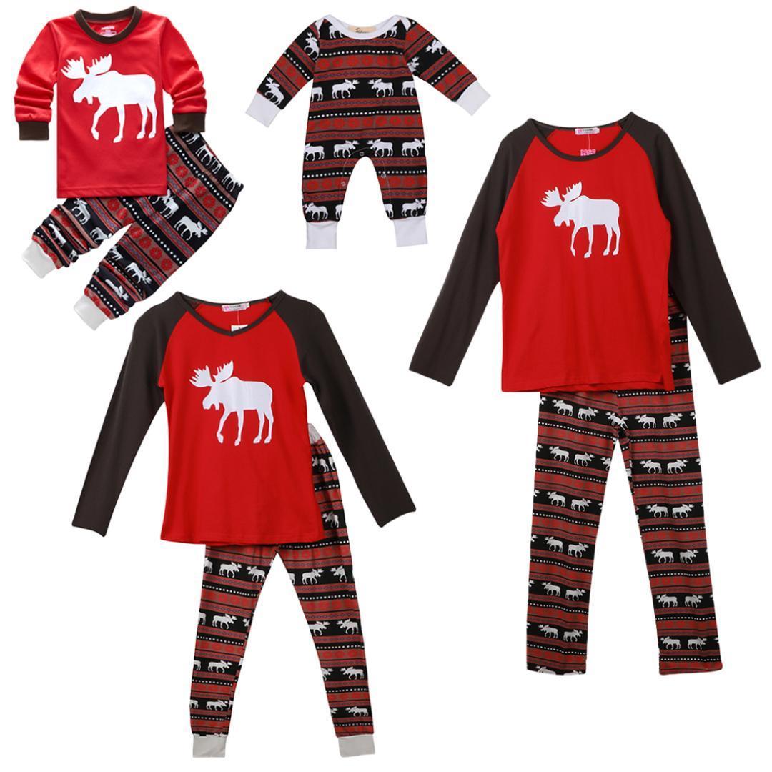 6d84a83f5b 2017 Xmas Moose Fairy Christmas Family Pajamas Set Adult Kids ...