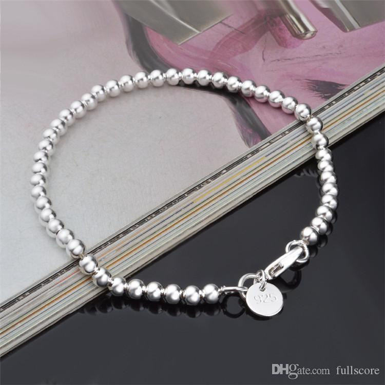 Wholesale Silver Plated Chain Bracelets For Women Vintage Jewelry 4MM Silver Hollow Beads Bracelet Femme Gift Accessories Bijoux