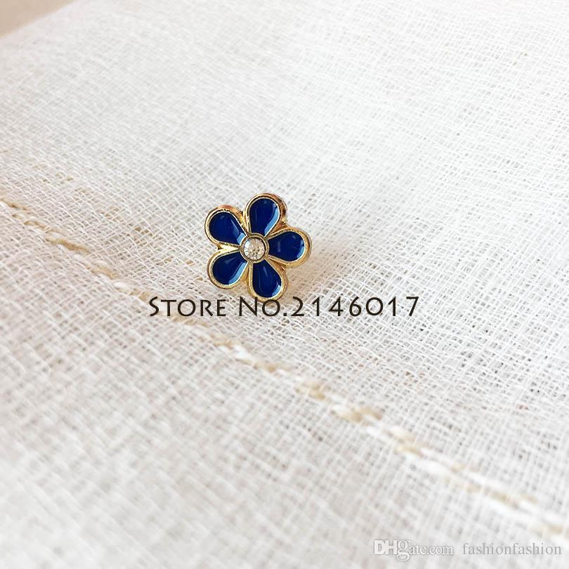 10pcs Small Size Freemasonry Masonic Forget-Me-Not Flower Lapel Pin with  Rhinestone Badge Metal Craft Custom Brooch Pins