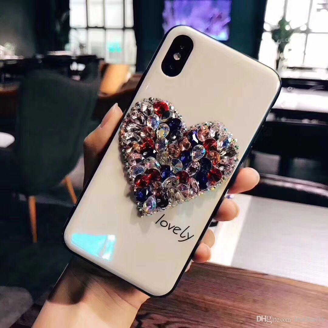 Stylish 3D Bling Love Heart Multi-color Diamond Phone Case Handmade Rhinestone Dazzle Color Back Cover Shell for iPhone X 6s 7 8 Plus