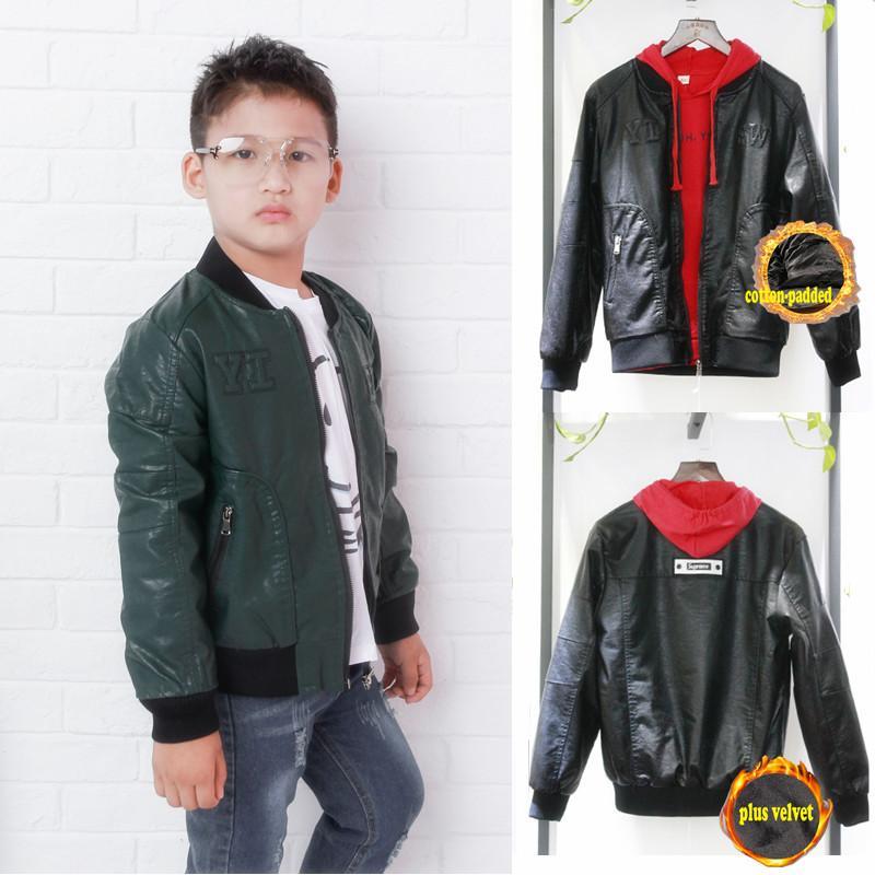 c9b004b1f Kids Spring Winter Clothing Boys Leather Bomber Jacket PU Coat ...