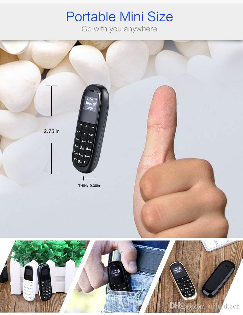 Mini pocket mobile phone AEKU KK1 0.66inch Wireless Bluetooth Headphone Dialer Smallest cell phone magic Voice Russian keyboard cellphone